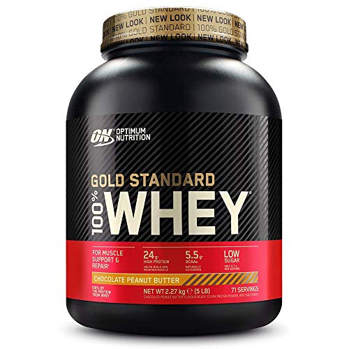 Optimum Nutrition Gold Standard Whey Protein Powder Muscle Building Supplements with Glutamine and Amino Acids, Chocolate Peanut Butter, 68 Servings, 2.24 kg, Packaging May Vary