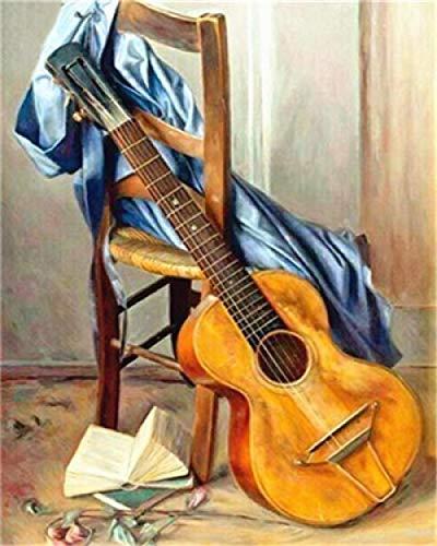 WLCCYBD Malowanie według liczb, dla dorosłych, dzieci, do malowania według liczb, dekoracyjne malowanie, malowanie według liczb, pędzlem i farbą akrylową, książki gitarowe - bez ramek