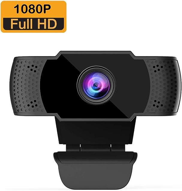 BOIFUN Webcam 1080P con Micrófono para PC Full HD Cámara Web USB 2.0 para Videoconferencia Estudios Conferencias Grabación Juegos Plug and Play con Clip Giratorio [Gestionado por Amazon]
