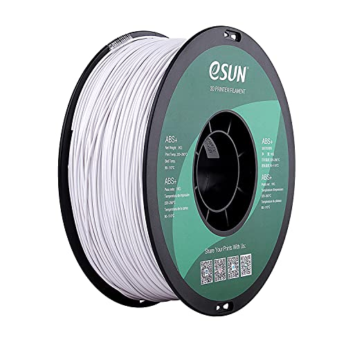 eSUN ABS Plus 3D Printer Filament, ABS+ Filament 1.75mm, Dimensional Accuracy +/- 0.05mm, 1KG (2.2 LBS) Spool 3D Printing Filament for 3D Printers, Cold White