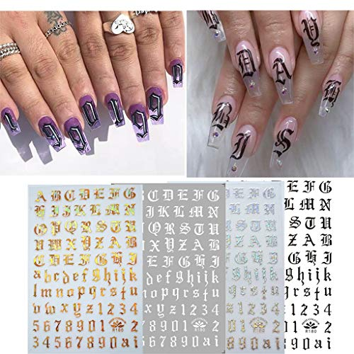 Fan-Ling Ultra Thin Black and White Gold and Silver Nail Art Supplies Nail Gummed Sticker,Finger Nail Art Decals Stickers,for Parties, Study, Holidays, Weddings, Daily Life (A:4PCS) Designer Supreme Large Fan