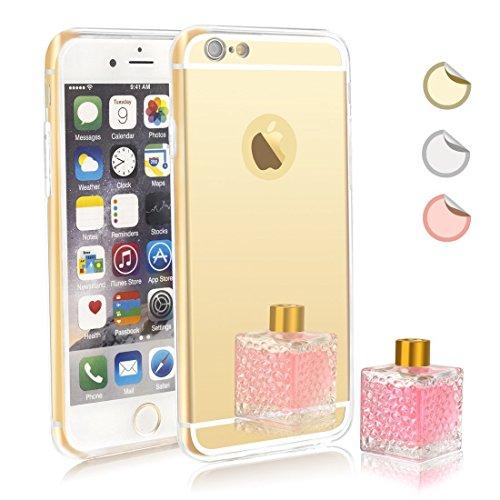 Capa espelhada para iPhone 7 Plus, capa espelhada para meninas, capa de luxo híbrida de vidro brilhante placa traseira à prova de choque para Apple iPhone 7 Plus (dourado)