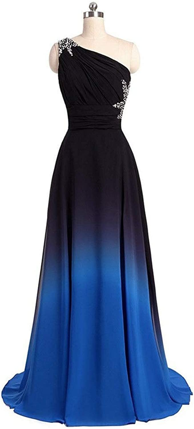 Bridesmaid Dress Womens OneShoulder Small Trailing Evening Dress Long Chair Evening Dress Dress Sequins for Formal Prom (color   Black bluee, Size   US22)