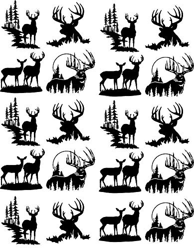 Deer Silhouettes - 89296 - Ceramic Decal - Enamel Decal - Glass Decal - Waterslide Decal - 3 Different Size Sheet (Images) to Choose from. Choose Either Ceramic (Enamel) or Glass Fusing Decals