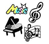 PP Patch Set 4 Music, Notes G Clef Music Note. Musical Notes G Clef Music Band, Grand Piano Black Patch for Bags Jacket T-Shirt Embroidered Sign Badge Costume DIY Applique Iron on Patch