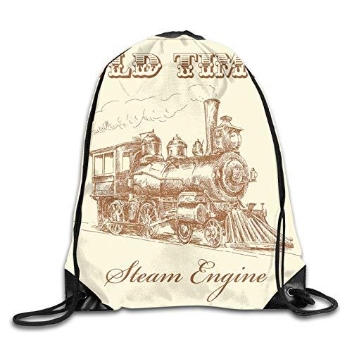 Fuliya Print Drawstring Backpack,Old Times Train Vintage Hand Drawn Iron Industrial Era Locomotive,Beach Bag for Gym Shopping Sport Yoga
