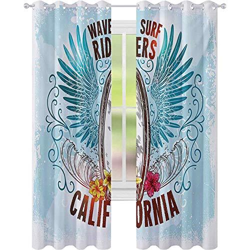 Cortinas opacas impresas, etiqueta de pizarra con dibujo de flores como alas de jinetes de ondas como trabajo de imagen de pájaro volador, 52 x 63 cortinas para sala de estar, dormitorio, multi