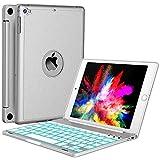 iPad Mini 5 / Mini 4 Keyboard - 135 Degree Flip 7 Color Backlit Aluminum Shell Smart Folio Keyboard Case with Auto Sleep/Wake for iPad Mini 5th Gen 2019 / iPad Mini 4 2015, Silver