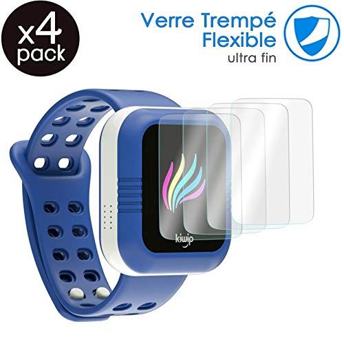 KARYLAX [Pack x4] Protector de pantalla de vidrio Nano flexible, dureza 9H, Ultra fina 0,2 mm y 100% transparente para VTech Kidizoom Smartwatch DX reloj inteligente