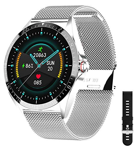 Smartwatch,1.3 Voll Touch Screen Fitness Armbanduhr mit Pulsuhr Fitness Tracker 5ATM Wasserdicht Sportuhr Smart Watch mit Schrittzähler, Stoppuhr, Schlafmonitor für Herren Damen mit Android und IOS