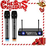 Wireless Microphones,U-Kiss Dual Channel Dynamic Microphones System Handheld mic wireless System with LCD Display Dual Channel, For Home Entertainment, Conference, Stage Shows to Have Fun Over the Mix