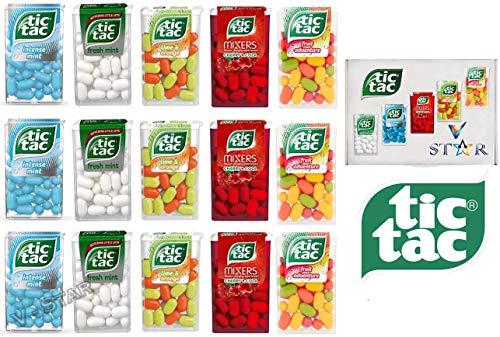 Confezione da 15 pezzi misti TIC TAC Mint Flavors Collection - (5 sapori) Avventura di frutta, lime e arancia, menta intensa, menta fresca e miscelatori Cherry COLA - VSTAR