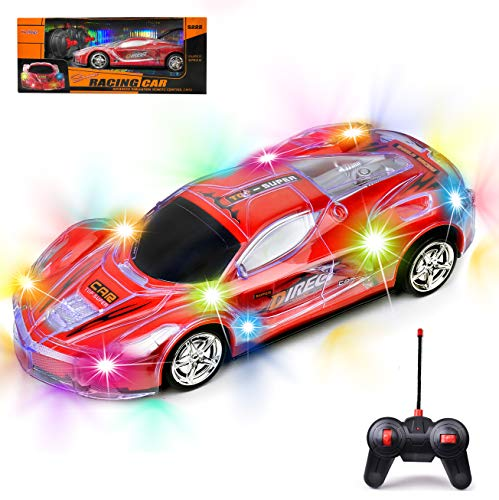 Haktoys RC Racing Sports Car 1:24 Scale Light Up Radio Remote Control Toy Vehicle with Colorful LED Flashing Lights