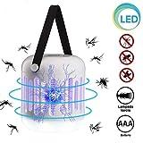 Bakaji Moustiquaire électrique UV LED avec fonction lampe torche lumière d'urgence LED électroinsecticide avec crochet de camping maison anti moustiques mouches alimentation batterie AAA