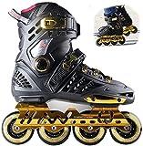 YZU Rollers en ligne pour adulte avec une rangée de lames de roller, chaussures professionnelles en fibre de carbone, pour débutants, sports de plein air, pour homme et femme, bleu, 44, noir, 38