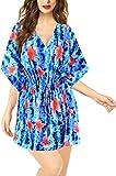 LA LEELA Las Mujeres Ropa Playa Hawaiano caftán Floral Encubrir Traje baño Vestido túnica Azul Arriba