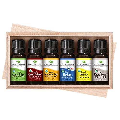 Plant Therapy Top 6 Organic Synergies Set | Essential Oil Blends for Sleep, Calm, Muscle Relief, Energy, Immunity, in A Wooden Box | 100% Pure, Undiluted, Natural, Therapeutic Grade | 10 mL (⅓ oz)