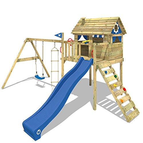 WICKEY Parco giochi in legno Smart Plaza Giochi da giardino con altalena e scivolo blu, Casetta su palafitte da gioco con sabbiera per bambini