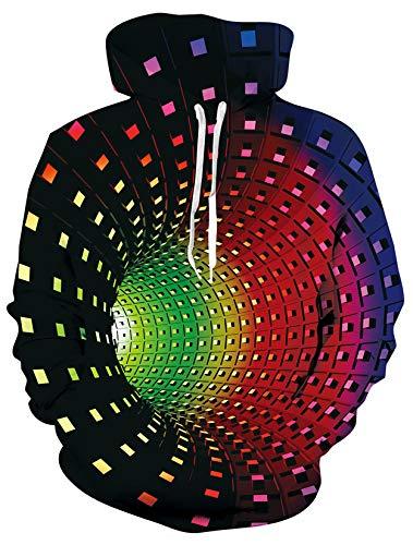 ALISISTER Unisex 3D Hoodie Kapuzenpullover Cool Bunt Vortex Grafik Sweatshirt Herbst Winter Atmungsaktiv Pullover Hoodies für Herren Damen XL