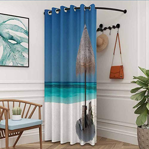 flymeeo 100' W x 84' L Coastal Decor Collection Cartoon Curtain for Kitchen, Bedroom Waterside Picture of Straw Parasol Umbrella and Sunbeds Azure Cruise Shoreline Image Print Blue