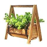 Silla de balancín de madera europea pastoral Cesta de flores Macetero columpio de...