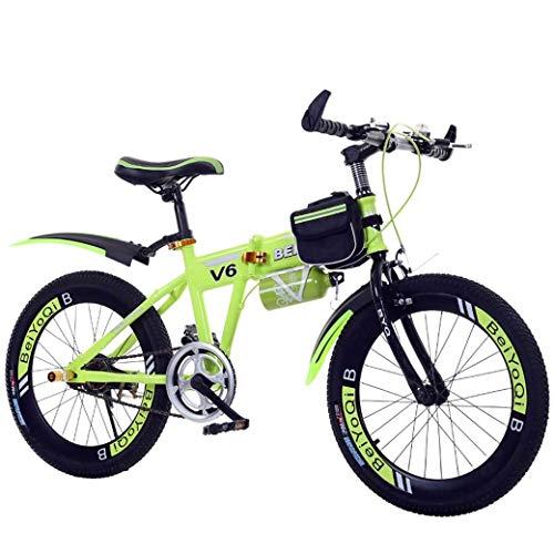 Chenbz Deportes al Aire Libre for niños Bicicleta Plegable 20Inch de Velocidad Variable Bicicleta de montaña, Confortable Silla, Pedal Antideslizante, Segura y Sensible Freno, Estudiante de Bicicleta