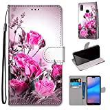 Miagon Full Body Case for Huawei Y6 2019,Colorful Pattern Design PU Leather Flip Wallet Case Cover with Magnetic Closure Stand Card Slot,Wild Rose