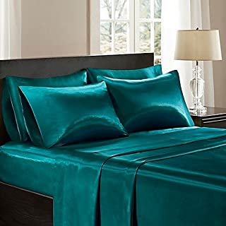 Bedify Bedding 100% Pure Silk Satin Sheet Set 7pcs, Silk Fitted Sheet 15'' Deep Pocket,Silk Flat Sheet,Silk Duvet Cover & Pillowcases Set !!! Queen, Teal