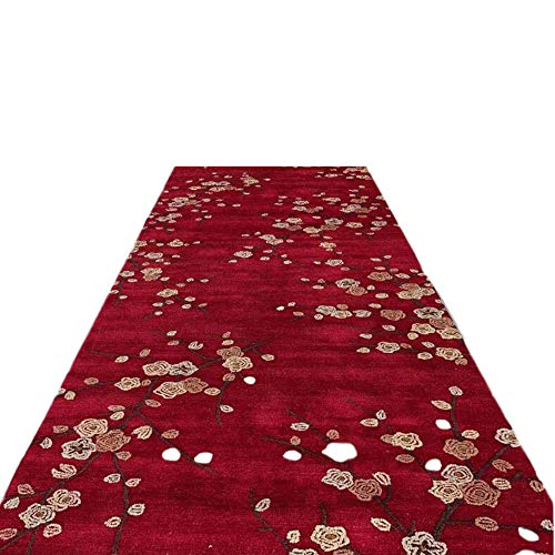 ANHPI Couloir Tapis rouge prune motif fleur tapis non Skid Pile faible Lavable Carpettes pour l'intérieur en plein air, Taille personnalisable