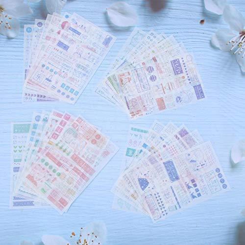 Hermosos patrones adhesivos pegatinas 24 piezas DIY decoración de cuentas de mano para diarios álbumes diarios manualidades y manualidades