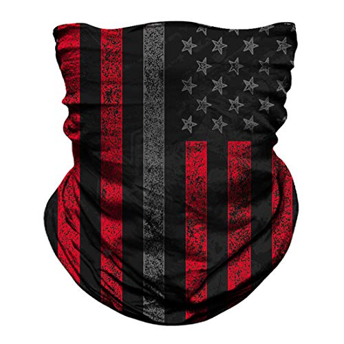 Skull Face Mask Dust Wind Sun Protection Seamless 3D Tube Mask Bandana for Men Women Durable Thin Breathable Skeleton Mask Motorcycle Riding Biker Fishing Cycling Sports Festival (Flag red)