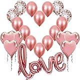 Globos de Oro Rosa Dorado, Globo Love XXL Helio o Aire,6 Corazón Rosegold,4 Globos de Confeti,10 de látex, Decoración Romantica Día de San Valentín Bodas Nupcial Aniversario y Compromiso
