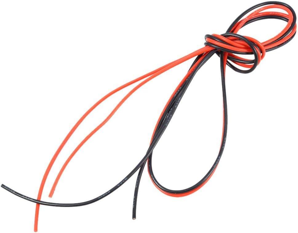 Dilwe RC Alambre Silicona, Cable de 2M 18AWG Cable Trenzado de Cobre (1 Metro Rojo + 1 Metro Negro)