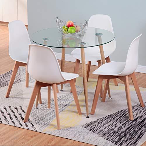 GOLDFAN Esszimmergruppe mit Glaas Esstisch und 4 Essstühlen Glastisch und Weiß Stuhl Runder Tisch für Wohnzimmer Küche
