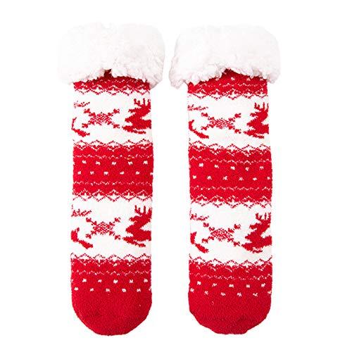 Kemelo Calcetines Antideslizantes con Forro borroso de Navidad para Mujer, calcetería Antideslizante de muñeco de Nieve de Santa de Dibujos Animados, Calcetines de Tobillo, B