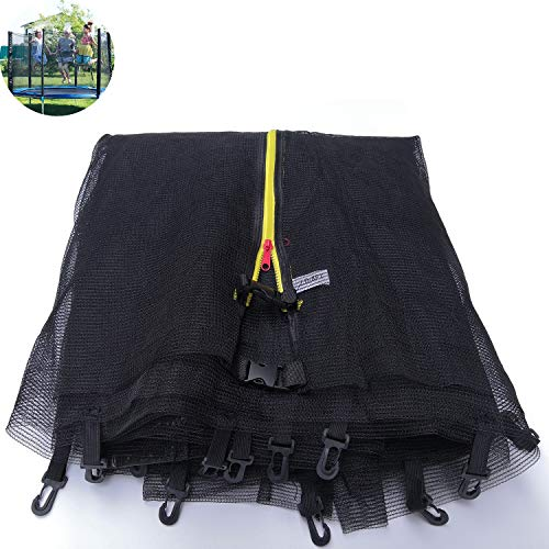 APJJ 6ft 8ft 10ft 12ft 15ft 16ft Trampoline Replacement Safety Nets, Replacement Surround Netting,Small Fingers Safe, Trampoline Net with Zipper and Safety Buckle, fit 6/8-Poled Trampolines,183cm