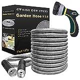 TheFitLife Flexible Metal Garden Hose - Upgrade Leak and Fray Resistant Design,...