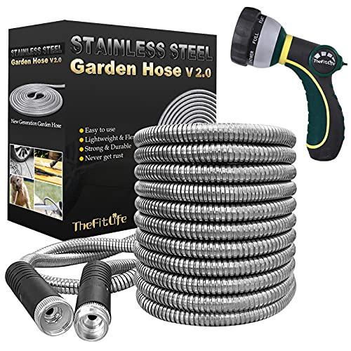 TheFitLife Flexible Metal Garden Hose - Upgrade Leak and Fray Resistant Design, Stainless Steel Water Hose with Solid Fittings and Sprayer Nozzle, Lightweight Kink Free Durable Easy Storage (25 FT)