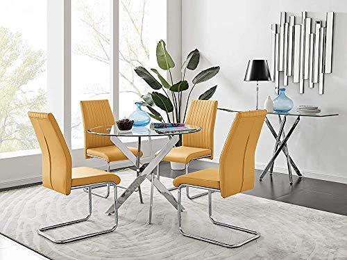 Kkcd Rundtisch mit modernen Glasmetallstuhlbeine 4,Dining Table 4 Mustard Lorenzo Chairs
