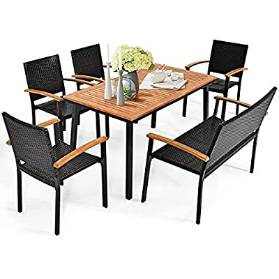 Tangkula 6 Piece Patio Dining Set, Outdoor Acacia Wood Dining Furniture w/Acacia Wood Table Top, Modern Conversation Set w/ 4 Rattan Chairs & 1 Rattan Bench for Backyard Garden Poolside Lawn