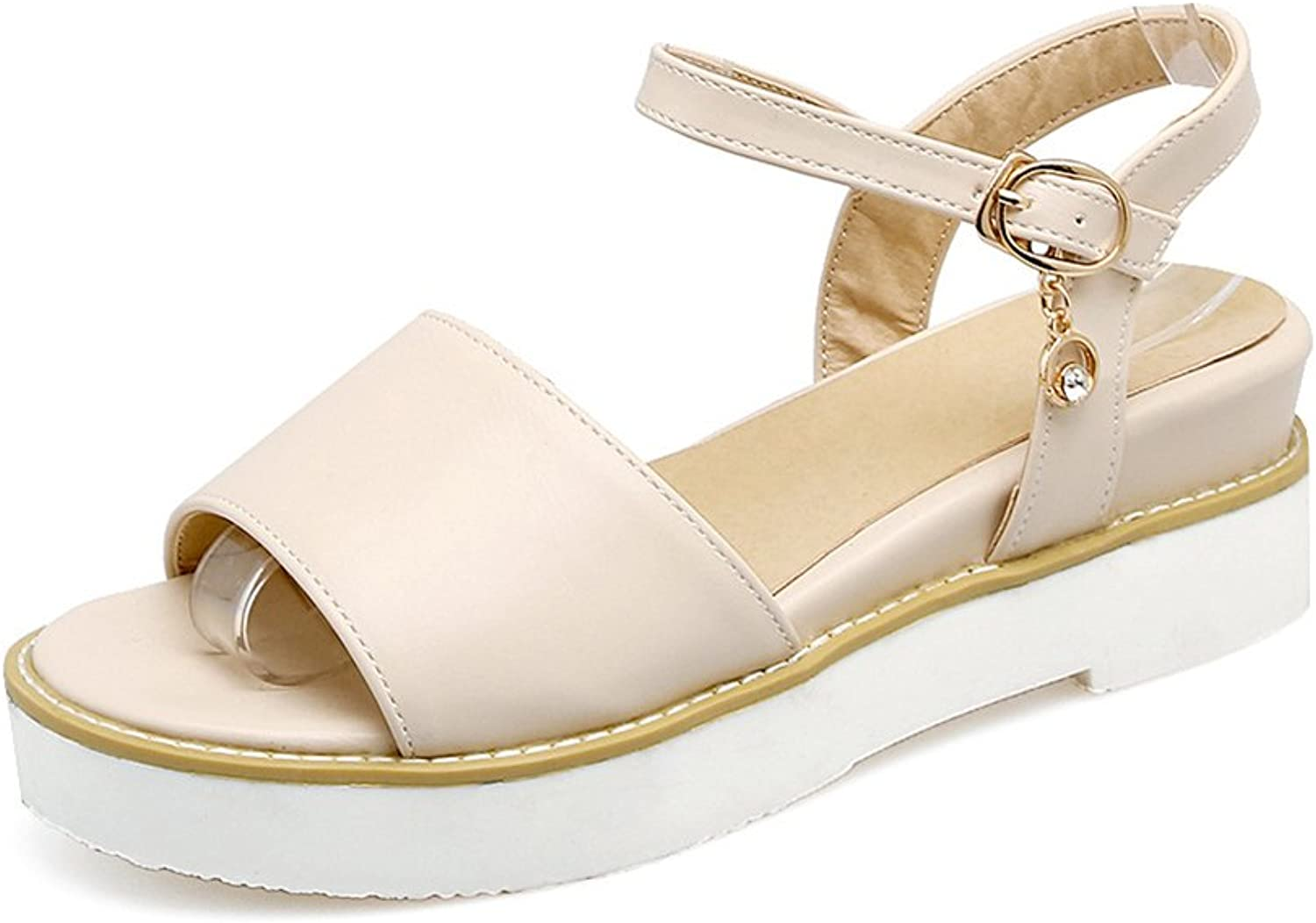Batiu Womens Leather Anti-Skid Ankle Strap Summer Sandals Lady Sandles