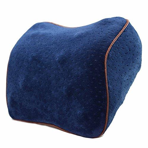 Vitodeco Velour Neck Pillow for Travel - Best Memory Foam Travel Cushion; Neck Pillow; Car Pillow; Neck Rest Pillow; Neck Support Pillow with Massage Spots (Blue)