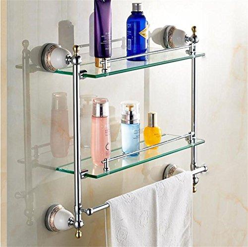 FAFZ Porte Double-serviettes, salle de bains Accessoires de style européen, salle de bains étagère en verre (couleur : 4#)