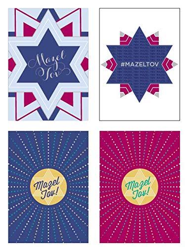 "Mazel Tov Cards and Envelopes | Jewish Bar Mitzvah and Bat Mitzvah, Wedding, Engagement, Anniversary, Baby Naming, Bris, Graduation | 16 Card Assortment with 4 Designs | 5""x7"""