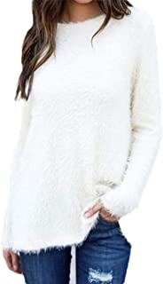 Women's Casual Pullover Sweater Fuzzy Fleece Round Neck Fluffy Long Sleeve Sweater Top