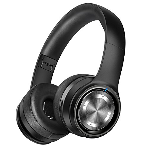 Picun P26 Bluetooth Headphones Over Ear Headset 40H Playtime Hi-Fi Stereo Wireless Headphones with Deep Bass Foldable Wired/Wireless/TF for Phone/TV Bluetooth 5.0 Wireless Earphones with Mic (Black)