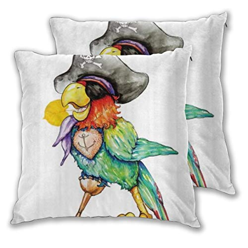 BOKEKANG Throw Pillow Cover (Set of 2) Parrot Anchor Sign Pirate Hat Funny Cartoon Watercolor Abstract Solid Color Decorative Soft Square Pillowcases for Sofa Bed Couch Car - 18' x 18'