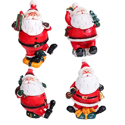 Topyuan Christmas Resin Doll Desk Decoration,Santa Claus Miniature Figurine Xmas Home Ornament