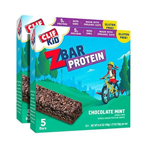 CLIF KID ZBAR - Protein Granola Bars - Chocolate Mint Flavor - Non-GMO - Organic -Lunch Box Snacks (1.27 Ounce Energy Bars, 10 Count)
