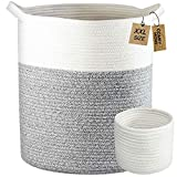 COMFY - HOMI 2pc Blanket Basket Tall Laundry Basket with Handles Woven Rope Basket Laundry Hamper Storage Organizer for Baby Nursery Storage Basket Living Room XXL Large 18'x16' (White Grey)